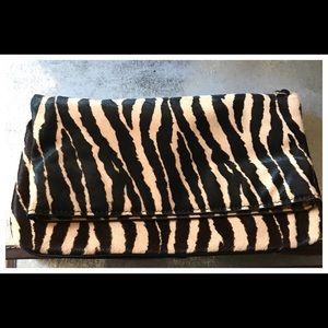 NWOT Ann taylor calf hair animal print clutch